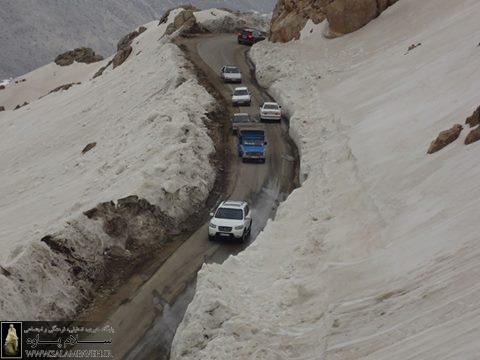 مسیر گردنه دالانی به دلیل بارش شدید برف و باران مسدود شد