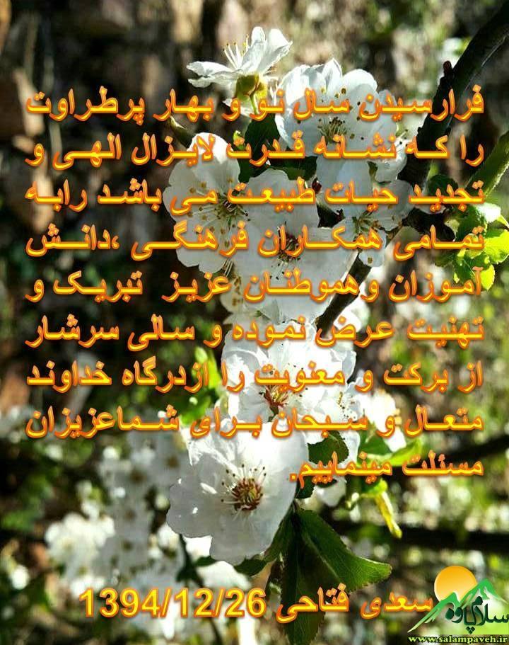 پیام تبریک سعدی فتاحی