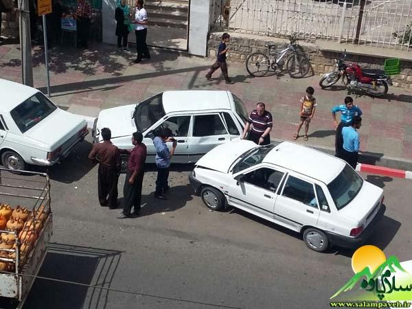 تصادف چهار خودرو در سطح شهر پاوه