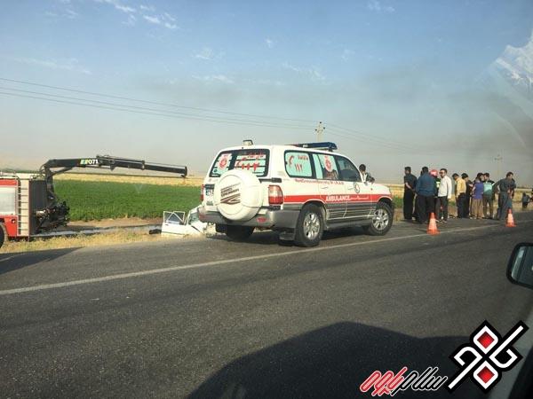 حادثه رانندگی در محور کرمانشاه به روانسر جان دو شهروند پاوه ای را گرفت/ عکس